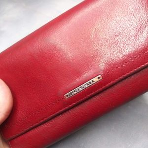 Fossil/ Red Tri-Fold Wallet